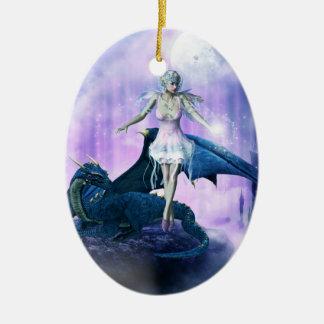 Blue dragon and fairy ceramic oval decoration