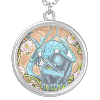 Blue Dragon bees flowers fantasy art necklace