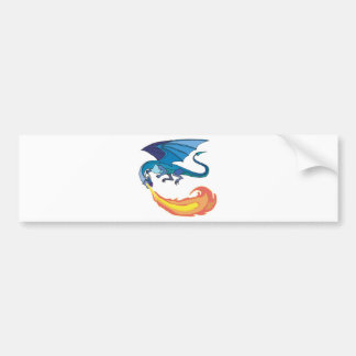blue dragon breathing fire bumper sticker