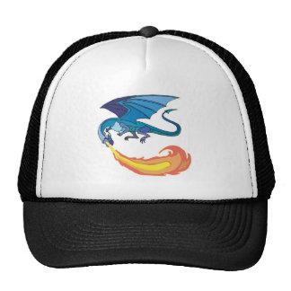 blue dragon breathing fire cap