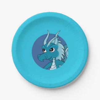 Blue dragon  cartoon paper plate