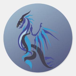 Blue Dragon Flame Round Sticker