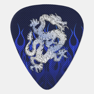 Blue Dragon in Chrome Carbon Fiber Styles Guitar Pick