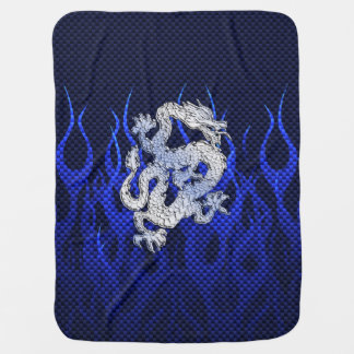 Blue Dragon in Chrome Carbon racing flames Buggy Blanket
