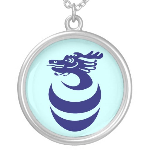 Blue Dragon in Egg Necklace