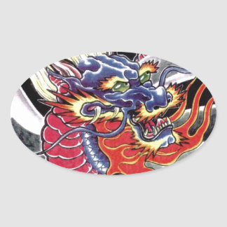 Blue Dragon Japanese tattoo design Oval Sticker