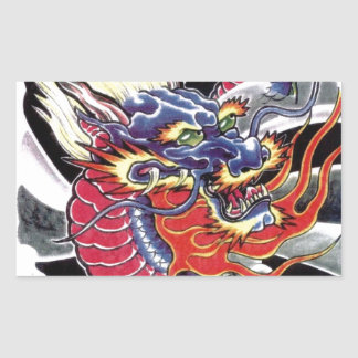 Blue Dragon Japanese tattoo design Rectangular Sticker