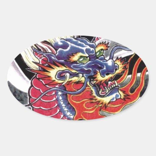 Blue Dragon Japanese tattoo design Stickers