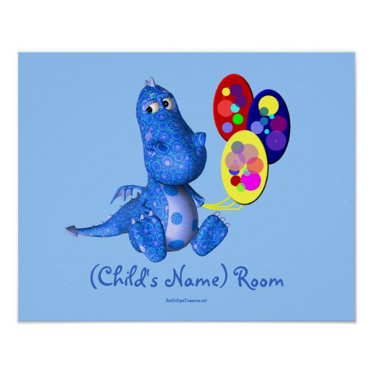 Blue Dragon Kids Room Personalised Wall Poster