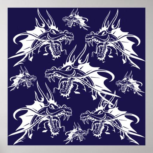 Blue Dragon Mythical Creature Fantasy Design Poster