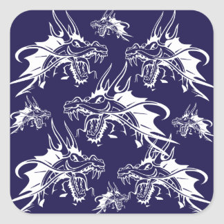 Blue Dragon Mythical Creature Fantasy Design Square Sticker