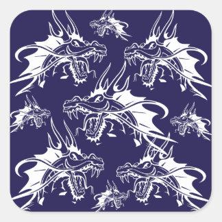 Blue Dragon Mythical Creature Fantasy Design Square Sticker