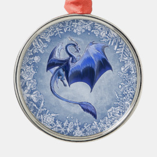 Blue Dragon of Winter Fantasy Nature Art Christmas Ornament