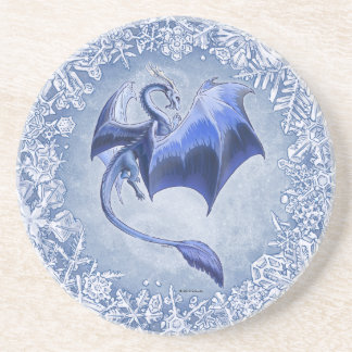Blue Dragon of Winter Fantasy Nature Art Coaster