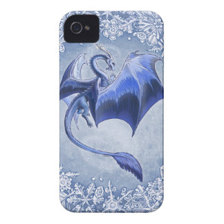 Blue Dragon of Winter Fantasy Nature Art iPhone 4 Cases