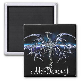 Blue Dragon on Lightning Sky Magnet