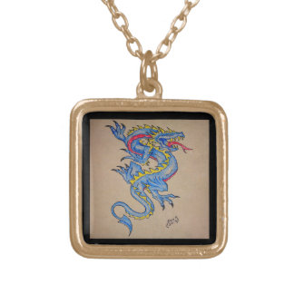 blue dragon parchment card (square) jewelry