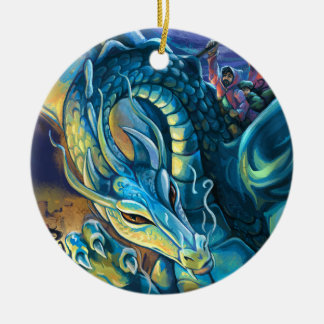Blue Dragon Rider Round Ceramic Decoration