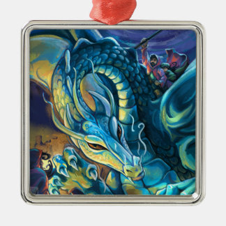 Blue Dragon Rider Silver-Colored Square Decoration