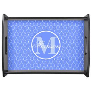 Blue Dragon Scale Prestige Monogram Serving Platters