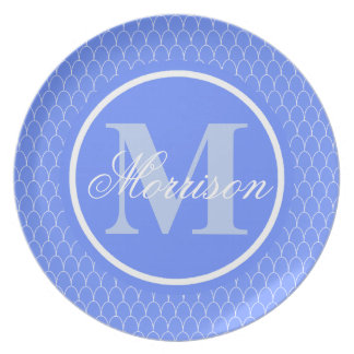 Blue Dragon Scales Monogram Party Plate