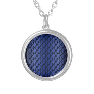 Blue Dragon Scales Round Pendant Necklace