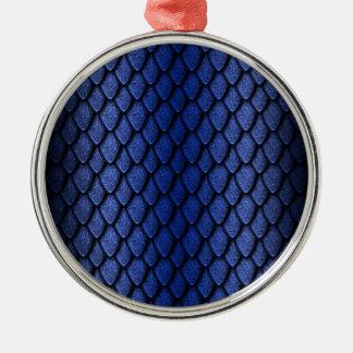 Blue Dragon Scales Silver-Colored Round Decoration