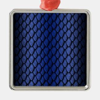 Blue Dragon Scales Silver-Colored Square Decoration