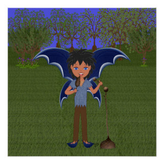 Blue Dragon Winged Musical Boy Faerie Poster