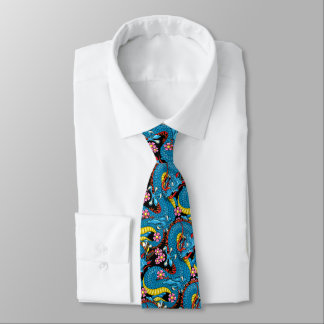 Blue Dragon with Cherry Blossoms Tie