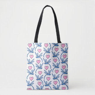 Blue Dragonflies and Pink Hearts Tote Bag