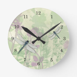 Blue Dragonflies Clock