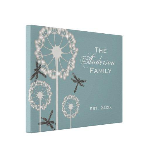 Blue Dragonflies Family Canvas Print