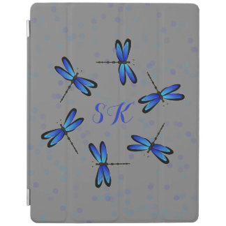 blue dragonflies hexagon iPad cover