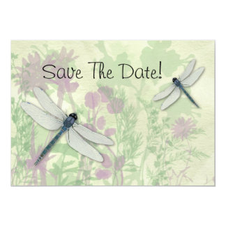 Blue Dragonflies Save The Date 13 Cm X 18 Cm Invitation Card