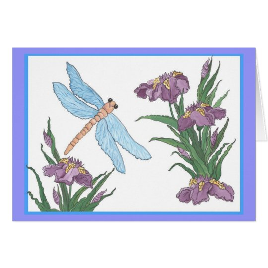 Blue dragonfly and iris card