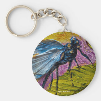 Blue Dragonfly Basic Round Button Key Ring