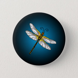 Blue Dragonfly Dragonflies Button