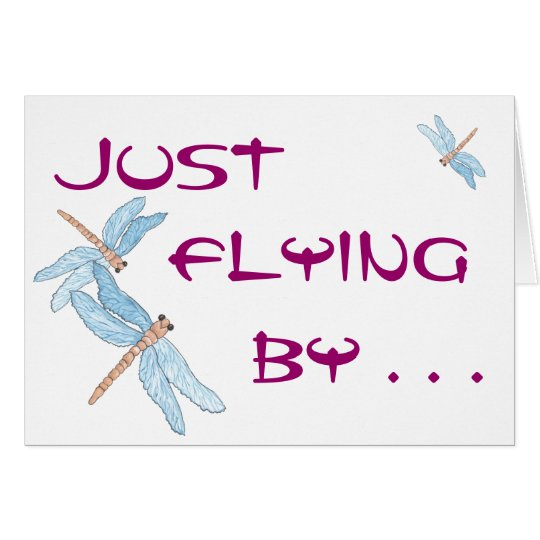 Blue Dragonfly Fly By Card