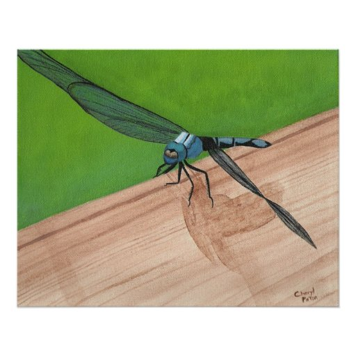 Blue Dragonfly on a Rail Poster