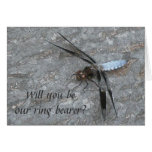 Blue Dragonfly Ring Bearer Request Card