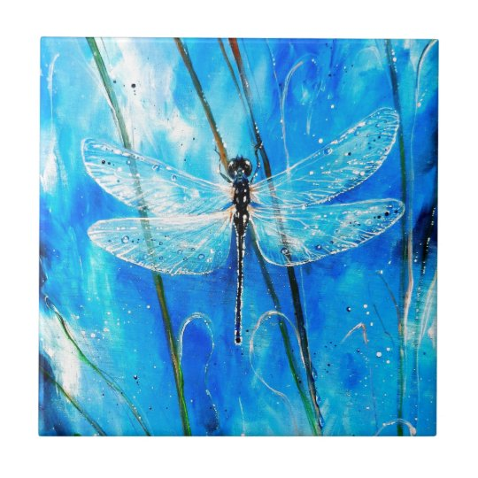 Blue Dragonfly Small Square Tile