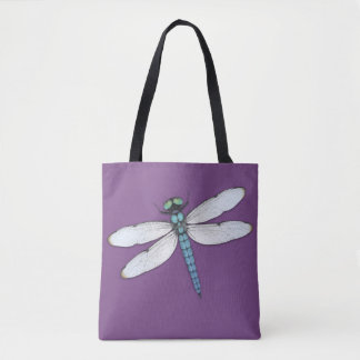 Blue dragonfly tote bag