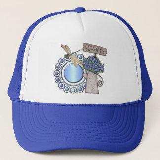 Blue dragonfly trucker hat