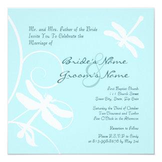 Blue Dragonfly Wedding Invitation