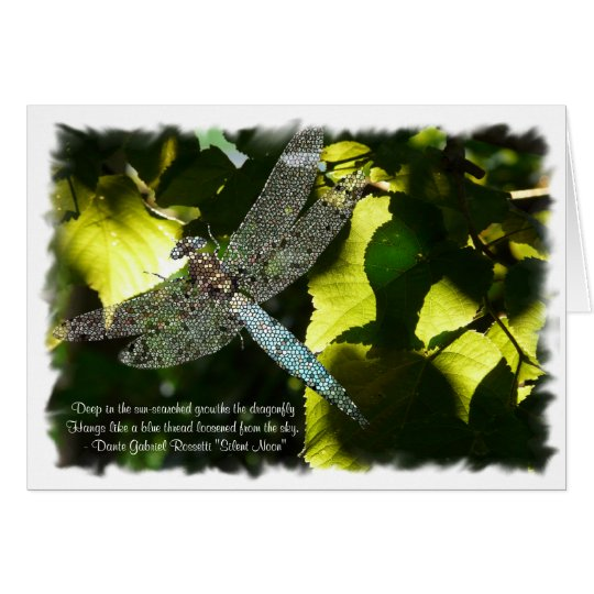 Blue Dragonfly with Green Leaves/Quotation Card