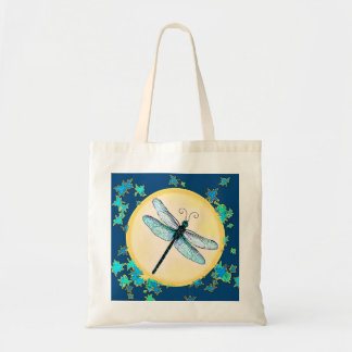 Blue Dragonfly with Leaves Bag
