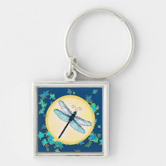 Blue Dragonfly with Leaves Keychain