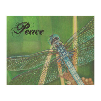 blue dragonfly wooden wall art with Peace word Wood Canvases