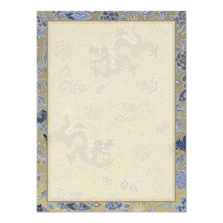 Blue Dragons and Flowers on Dull Gold 17 Cm X 22 Cm Invitation Card